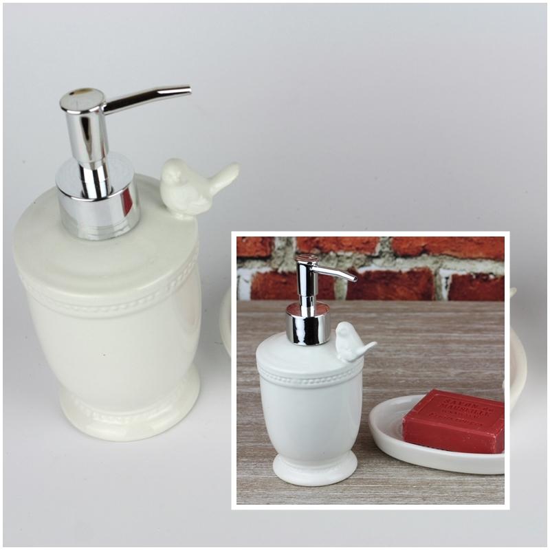 Bílý dávkovač mýdla