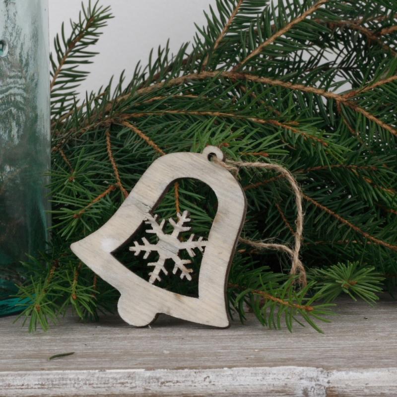 Dřevěná vánoční ozdoba zvoneček s vločkou 7cm (set 6ks)