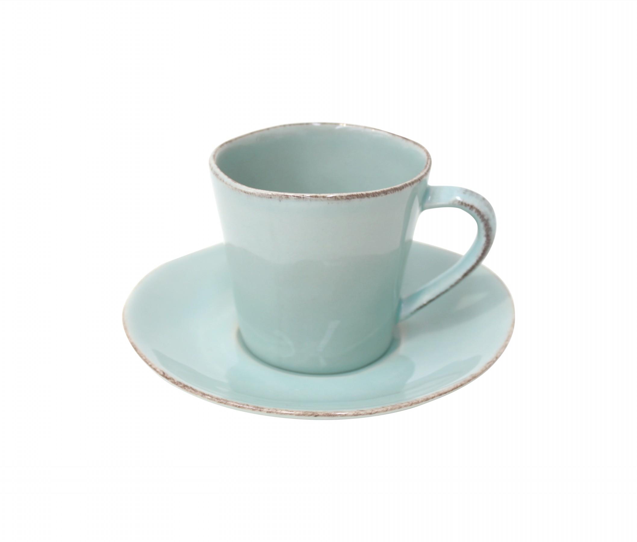 Hrnek na kávu s talířkem tyrkys Costa Nova NOVA