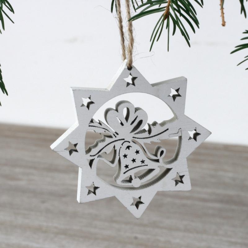 Vánoční dřevěná ozdoba hvězda bílá 7cm (set 6ks)