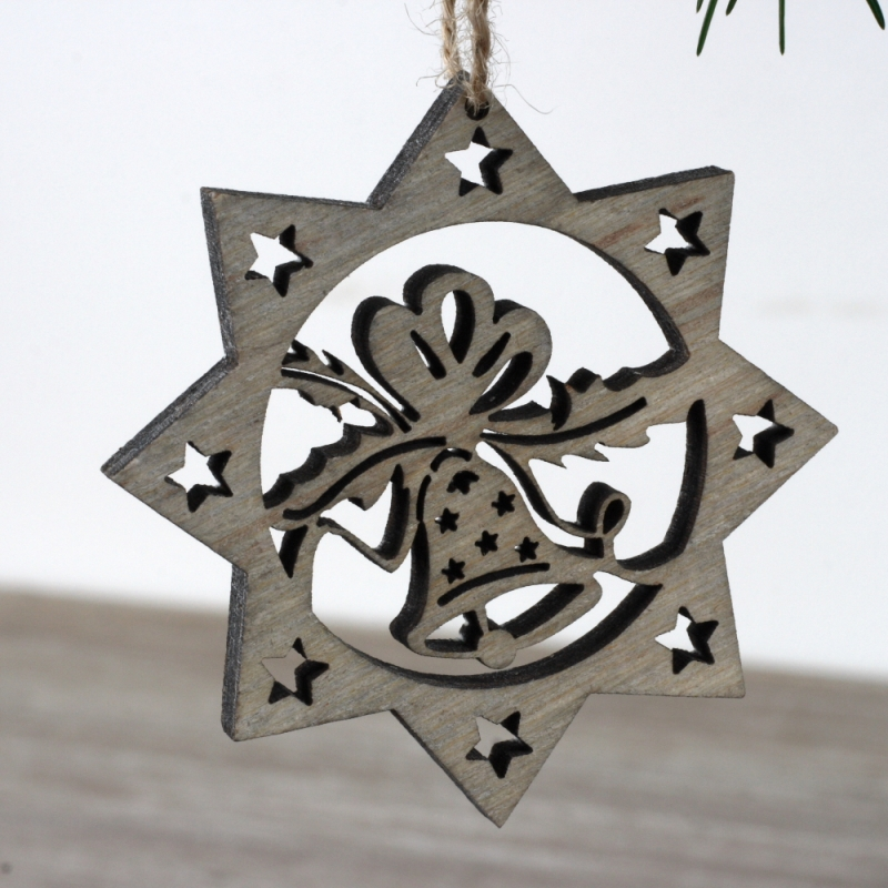 Vánoční dřevěná ozdoba hvězda hnědá 7cm (set 6ks)