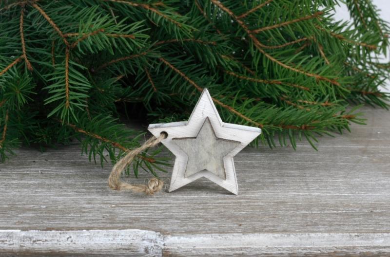 Vánoční ozdoby dřevěné hvězdy 3cm (set 6ks)