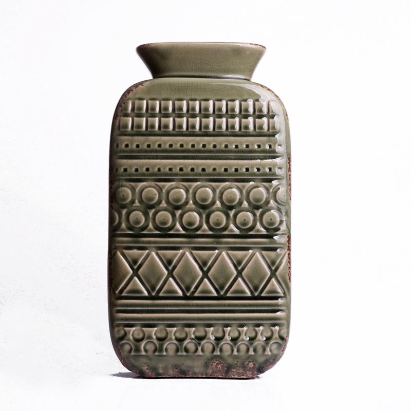 vaza-keramika-aztecke-vzory-zelena-34x18cm